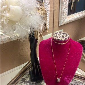 Henri Bendel rose gold necklace, long